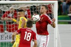 Ungarn gegen die Niederlande Fußballspiel 2016 der Rumänien UEFA-Euronäheren bestimmung Stockfoto