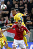 Ungarn gegen die Niederlande Fußballspiel 2016 der Rumänien UEFA-Euronäheren bestimmung Stockfotografie