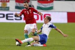 Ungarn gegen die Niederlande Matc 2016 Fußball der Färöer UEFA-Euronäheren bestimmung Lizenzfreie Stockfotografie