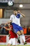 Ungarn gegen Finnland Stockbild