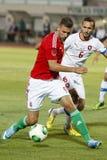 Ungarn gegen Fußballspiel der Tschechischen Republik Stockfotografie