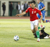 Ungarn gegen Island-Fußballspiel Stockfotos