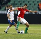 Ungarn gegen niederländisches Fußballspiel Lizenzfreies Stockbild