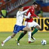 Ungarn gegen niederländisches Fußballspiel Stockfoto