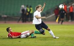 Ungarn gegen Norwegen (0: 2) freundliches Fußballspiel Lizenzfreies Stockbild