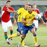 Ungarn gegen Schweden-Fußballspiel Stockbild
