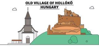 Ungarn, Holloko, altes Dorf, Reiseskyline-Vektorillustration stock abbildung