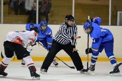 Ungarn - Italien unter icehockey 16 Spiel Stockbild