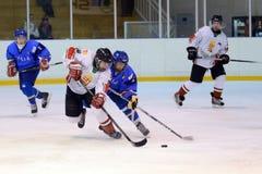 Ungarn - Italien unter icehockey 16 Spiel Stockfoto