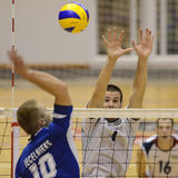 Ungarn-- Lettland-Volleyballspiel Stockfotos