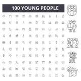 Ungdomarlinje symboler, tecken, vektoruppsättning, översiktsillustrationbegrepp arkivbild