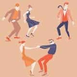 Ungdomarsom dansar lindy flygtur Arkivbilder