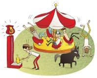 Ungdomarsom har gyckel i rolig mässa royaltyfri illustrationer