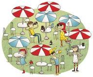 Ungdomarsom har gyckel i strandstång stock illustrationer