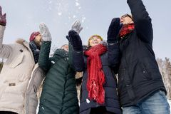 Ungdomarsom kastar snö royaltyfria bilder