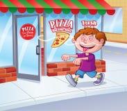 Unge i följande lukt för trans av pizza royaltyfri foto