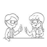 Unge i illustration för vektor för vetenskapsgrupp hand dragen royaltyfri illustrationer