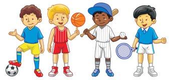 Unge i olik sportaktivitet Arkivbild