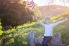 Unge med amerikanska flaggan Royaltyfri Foto