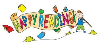 Unge med det lyckliga läs- banret Arkivbild