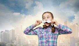 Unge med mustaschen Arkivfoto