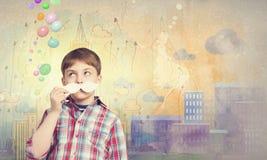 Unge med mustaschen Royaltyfria Bilder