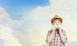 Unge med mustaschen Royaltyfri Fotografi