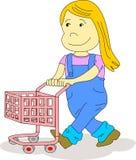Unge med shoppingvagnen Arkivbild