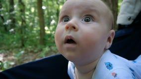Unge med stora ögon och reva på hans framsida som lägger i sittvagnen i skogen lager videofilmer