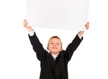 Unge med tomt papper royaltyfri bild