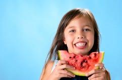 Unge med vattenmelon arkivfoto