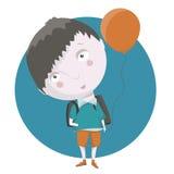 unge och ballong Arkivbild