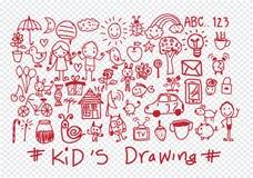 Unge- och barns handteckningar royaltyfri illustrationer