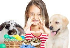 Unge och easter kanin Royaltyfri Fotografi