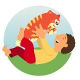 Unge och katt Fotografering för Bildbyråer