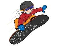 Unge på snowboard Royaltyfria Bilder