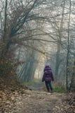 Unge som är borttappad i skogen Arkivbild