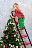 Unge som dekorerar julgranen Royaltyfri Bild