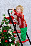 Unge som dekorerar julgranen Royaltyfria Foton
