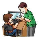 Unge som lär datoren Arkivbild
