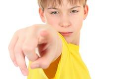 unge som pekar dig Fotografering för Bildbyråer
