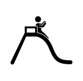 unge som spelar den kontur isolerade symbolen Arkivfoton