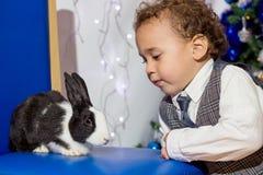 Unge som spelar med en kanin Royaltyfri Bild