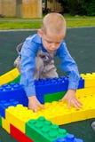 Unge som spelar med kuber Royaltyfri Fotografi