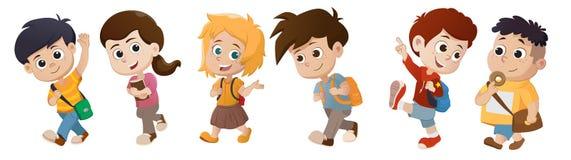 Unge som vaknar till skolan tillbaka skola till vektor illustrationer