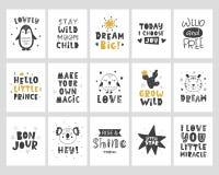 Ungeaffischuppsättning Barnsligt typografitryck för skandinavisk stil vektor illustrationer