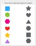 Ungearbetssedel som matchar former och skuggor vektor illustrationer