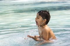 Ungebadning i simbassäng Arkivbilder