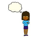 ungeduldig Frau der Karikatur mit Gedankenblase Lizenzfreies Stockfoto