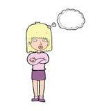 ungeduldig Frau der Karikatur mit Gedankenblase Stockbilder